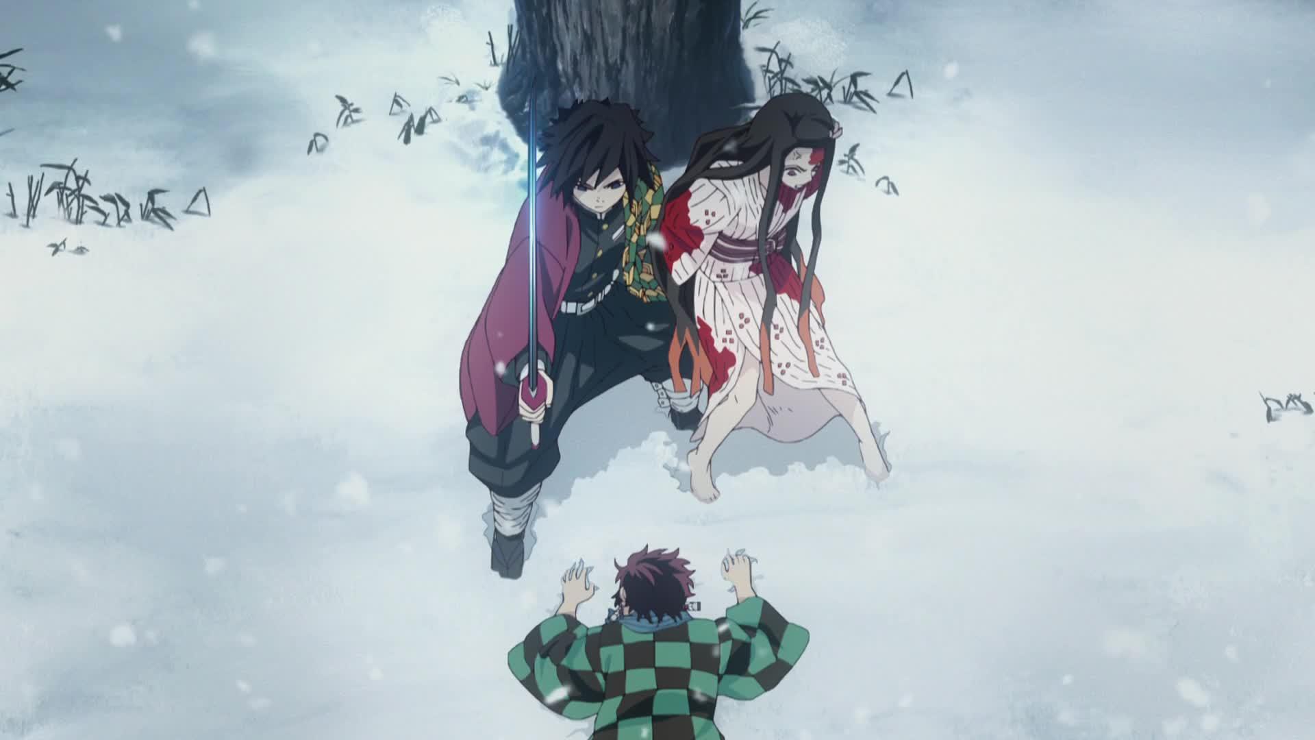 Imagen del combate entre Giji y los hermanos Kamado